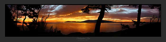 Bellingham Bay Washington Sunset Image of San Juan Islands